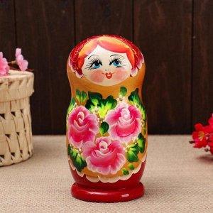 """Матрёшка 5-ти кукольная """"Лиза"""" розы , 17-18см, ручная роспись."""