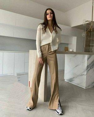 Брюки Ткань стильные брюки, ЭКО-КОЖА с разрезами стрейч-трикотаж
