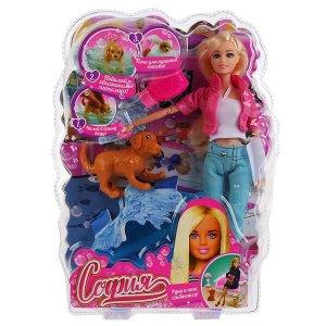 1694237-20-S-HU Кукла 29см София с собакой виляющей хвостом, с аксессуарами в пласт. София и Алекс в кор.2*24шт