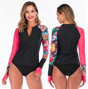 Женский купальный костюм для SUP-cерфинга, кофта и трусы-бикини, с молнией