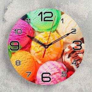"""Часы настенные круглые """"Мороженое радуга"""", 24 см  микс"""