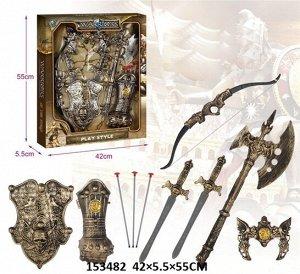 Набор оружия (щит,меч,лук,топор,доспехи),кор.55*42*5,5 см