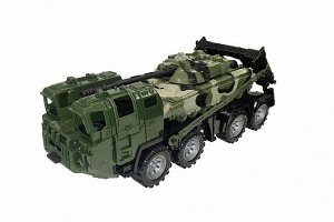 """Военный тягач """"Щит"""" с танком (камуфляж) 56*21*21,5см,  тм Нордпласт"""