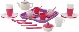 """Набор детской посуды """"Алиса"""" с подносом на 4 персоны, 35 эл. , 28*28*9см., сетка"""