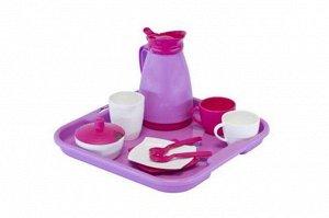 """Набор детской посуды """"Алиса"""" с подносом,на 2 персоны, 17*16см., сетка*"""