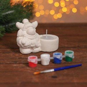 Набор для творчества свеча под раскраску «Олень в шарфике» краски 4 шт. по 3 мл, кисть