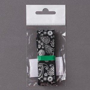 Лента репсовая с тиснением «Огурцы», 25 мм, 2 ± 0,1 м, цвет чёрный