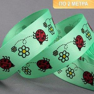 Лента репсовая «Бабочки», 25 мм, 2 ± 0,1 м, цвет зелёный