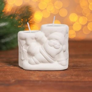 Набор для творчества свеча парная под раскраску «Дед Мороз» краски 4 шт. по 3 мл, кисть