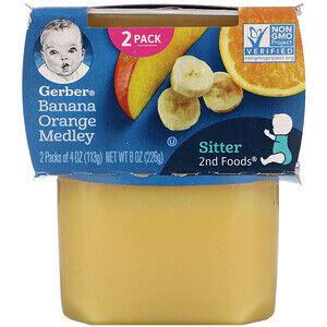 Gerber, Бананово-апельсиновая смесь, 2 баночки по 113 г