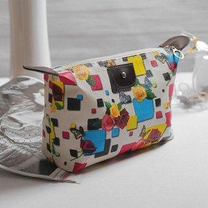 Косметичка-сумочка, отдел на молнии, цвет белый