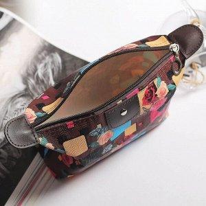Косметичка-сумочка, отдел на молнии, цвет коричневый