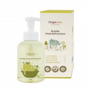 Шампунь 3-в-1  с экстрактом алоэ вера Orgabebe bubble wash&shampoo 500 мл