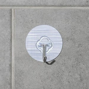 Крючок-наклйека «Классик», металл, цвет серебряный 5412449