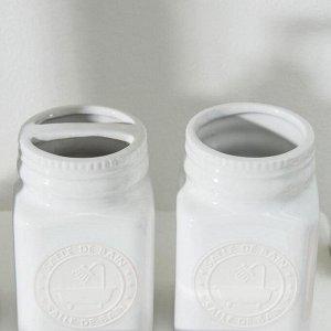 Набор аксессуаров для ванной комнаты «Лу Лу», 4 предмета (дозатор, мыльница, 2 стакана), цвет белый