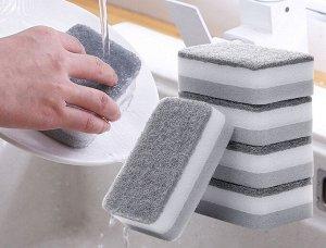 Двусторонняя губка для мытья посуды 5 шт