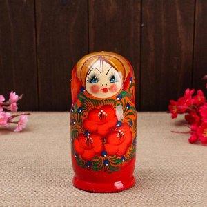 "Матрёшка 5-ти кукольная ""Галя"" оранжевая , 14-15см, ручная роспись."