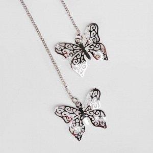 """Серьги со стразами """"Бабочки"""" блеск, цвет белый в серебре"""