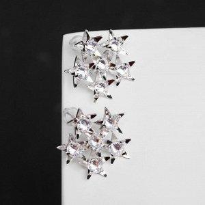 """Серьги со стразами """"Звёздочки"""" космос, цвет белый в серебре"""
