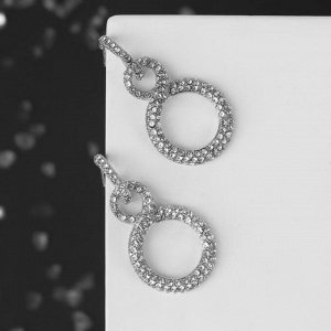 """Серьги со стразами """"Бесконечность"""" два круга, цвет белый в серебре"""