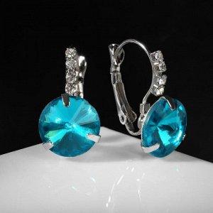 """Серьги со стразами """"Подари нежность"""" кристалл, цвет голубой в серебре"""