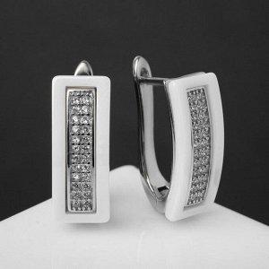 """Серьги керамика """"Прямоугольник"""", цвет белый в серебре"""