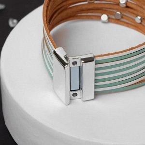 """Браслет ассорти """"На магните"""" дорожка с бусинками, цвет зелёно-белый в серебре, L=19,5 см"""