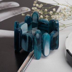 """Браслет пластик """"Этника"""" прямоугольники, цвет морской, 5,5см"""