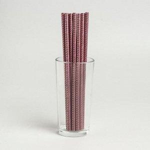 Трубочки для коктейля «Зигзаг», набор 12 шт., цвет коффе