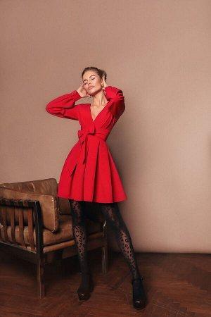 Платье с запахом и широким поясом