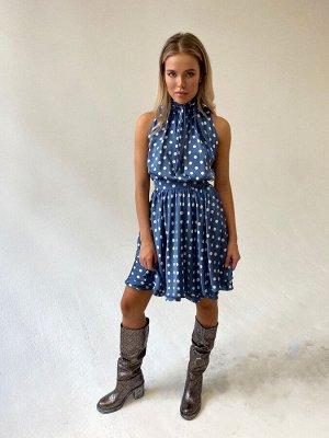 Шёлковое платье в горох с трехслойной юбкой и завязками на воротнике