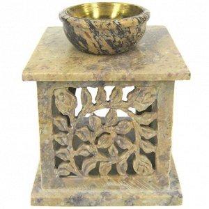 Аромалампа, камень (Индия), 11,5*10 см, чаша с бронзовой вставкой