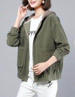 Вельветовая куртка с капюшоном на молнии