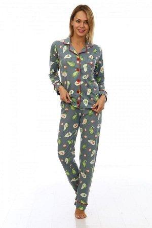 Пижама женская ПЖ-046 Авокадо(олива) дл/рук