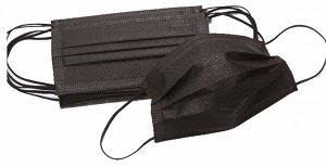 Маска (черная) 3х-слойная, защитная с носовым фиксатором, 1 уп/50 шт