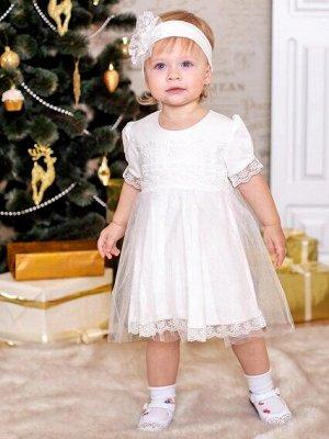 Платье Платье с повязкой                                 молочное                                                                                                                   интерлок, кружево, ф
