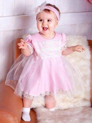 Платье Платье с повязкой                                      розовое                                                                                                      интерлок, кружево, фатин