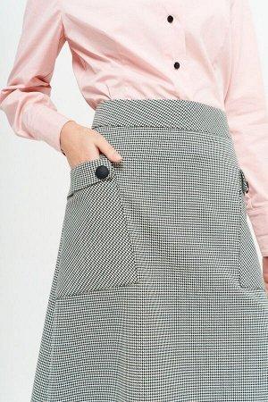 Юбка миди Рост: 164 см. Состав ткани: 60% вискоза 37% п/э 3% спандекс Лаконичная юбка из костюмно-плательной ткани, расширенная книзу, на подкладке, на широком притачном поясе. На переднем полотнище н