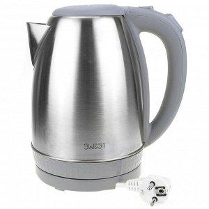 Чайник электрический 1,8л, 1500Вт, напряжение 220-240В, дисковый ТЭН, индикатор включения чайника, голубая светодиодная подсветка, нержавеющая сталь/пластик, серый (Россия)