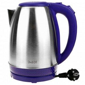Чайник электрический 1,8л, 1500Вт, напряжение 220-240В, дисковый ТЭН, индикатор включения чайника, голубая светодиодная подсветка, нержавеющая сталь/пластик, фиолетовый (Россия)