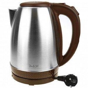 Чайник электрический 1,8л, 1500Вт, напряжение 220-240В, дисковый ТЭН, индикатор включения чайника, голубая светодиодная подсветка, нержавеющая сталь/пластик, шоколад (Россия)