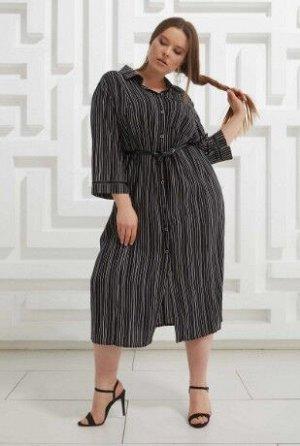 Платье Черный/Полоска белая
