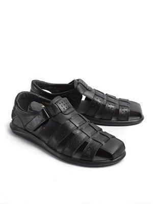 Туфли мужские летние, черная кожа