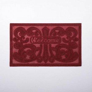 Коврик придверный без окантовки «Welcome Вензель», 45?75 см, цвет МИКС