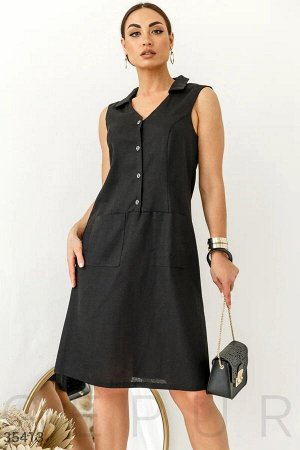 Открытое платье-рубашка черного цвета