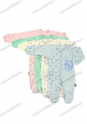 Комбинезон ЦВЕТ В АССОРТИМЕНТЕ. Теплый слип (комбинезон) для новорожденного из футера Комбинезон для новорожденного с ножками, длинный рукав. Застегивается на кнопки по центральному шву и шаговому шву