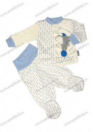 Комплект ЦВЕТ В АССОРТИМЕНТЕ. Полотно интерлок Комплект из кофточки  с воротником стойкой и манжетами, ползунков на резинке или на поясе ,сборкой по ножке.