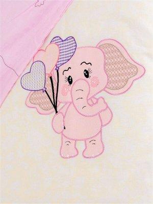 КПБ Розовый слоник из сатина с аппликацией