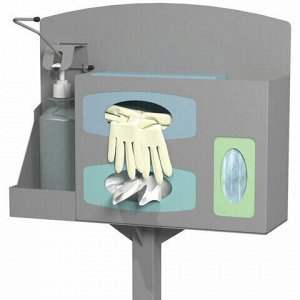 Стойка дезинфекции 1.3 м (локтевой дозатор, дозатор перчаток, салфеток и масок) серая, 607565