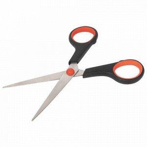 Ножницы STAFF EVERYDAY, 150 мм, бюджет, резиновые вставки, черно-красные, ПВХ чехол, 237497.